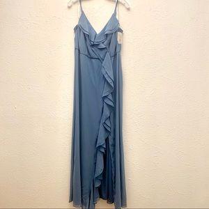 Davids Bridal Ruffle Spaghetti-Strap Chiffon Dress